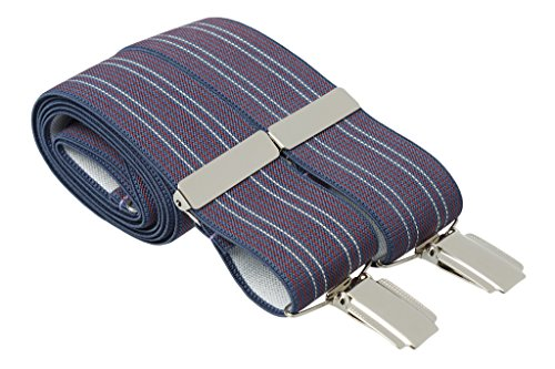 Gents Shop Herren Hosenträger Blue With Red and White Stripes (White X-back-hosenträger)