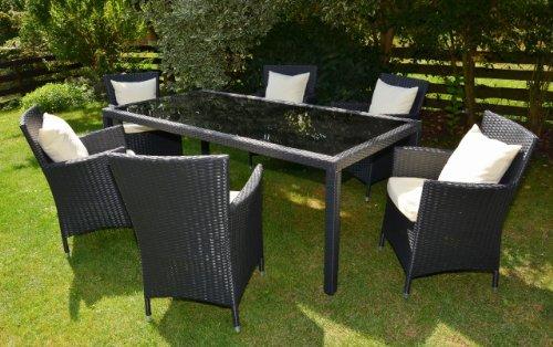 Rattan4Life Bologna schwarz / creme Tisch 160 cm Polyrattan Gartenmoebel Sitzgruppe Lounge Moebel Set Gartentisch Sessel Sofa Stuhl Kissen Balkon (Set Sofa Teak)
