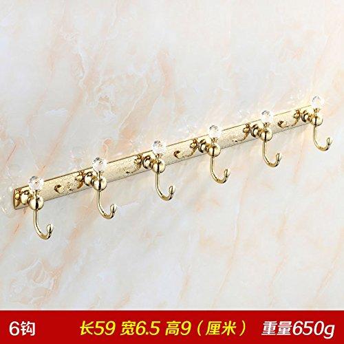 LX.AAH Diamant Golden Bademantel Haken Kleiderhaken Kleiderhaken an der Wand Dragnets Continental Dragnets Crystal, Gold 6 Haken