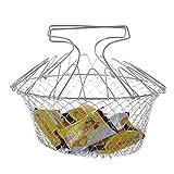 Foldable Steam Rinse Strain Fry Chef Basket Strainer Net Kitchen Cooking