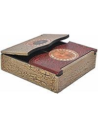 Schatulle aus leichten Albesia-Holz, handbemalt, Gecko oder Sonne & Mond, Motiv:- Sonne & Mond