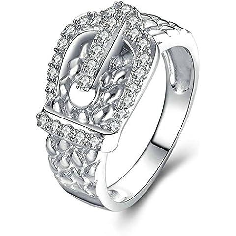 (Personalizzati Anelli)Adisaer Anelli Donna Argento 925 Anello Fidanzamento Incisione Gratuita Classic Belt Anello Diamante