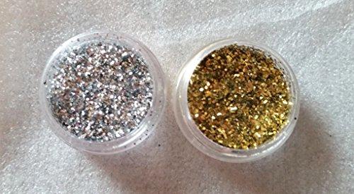 NEW Set de 2 contenants Poudre de paillettes nail art glitter argent et or Poudre Poussière Poudre Paillettes 3 G döschen Jaquette pour einarbeitung dans Kit ongles ongles Design