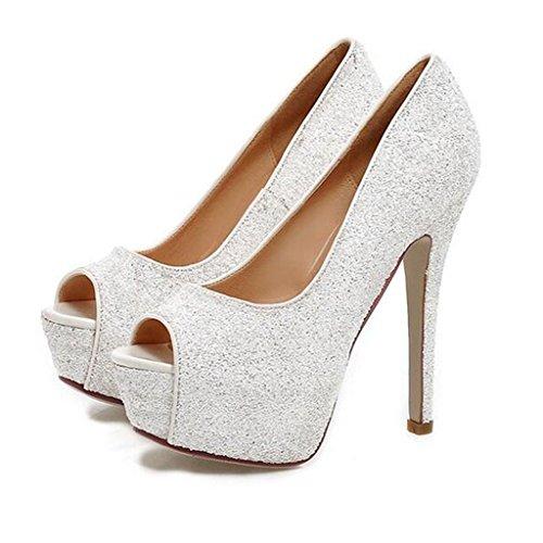 W&LM Mme Talons hauts Des sandales Chaussures de mariée Chaussures de mariage Demoiselles d'honneur Talons hauts Rugueux Chaussures de mariage mariage Bouche de poisson Chaussures White