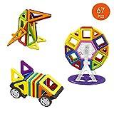 Anokay 67tlg mini Magnetische Bausteine Konstruktion Blöcke Konstruktionsbausteine Bauklötze Baukasten Magnetspielzeug Lernspielzeug für Baby Kleinkind ab 3 Jahre