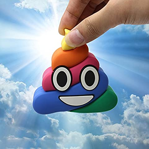 DBigness 2600mAh Rainbow Poop Cute Funny Cartoon Christmas Gift PVC External Battery Portable Charger Backup Pack Power Bank for IOS Android Phones