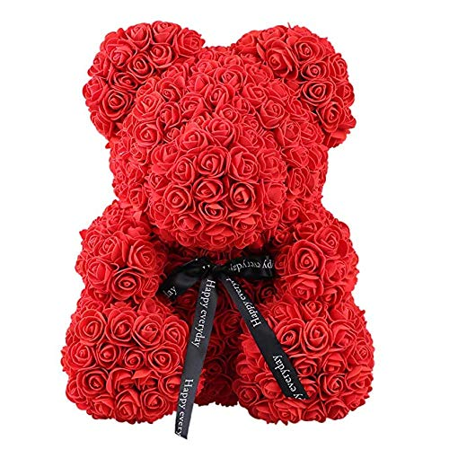 SunRlity Rose Bear Toy Women Girls Flower Birthday Valentine Wedding Party Doll Gift (Red, 40cm/14) -