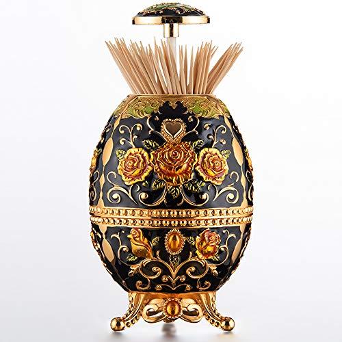 TAMUME Dispensador de Palillos de Dientes Retro Decorativo de Metal Huevo Faberge Estilo Palillo Poseedor con Pie con Abridor de Botellas en la Parte Inferior