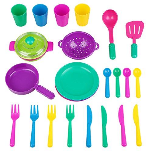 Peradix Giocattoli Cofanetto Accessori Cucina 26 Pezzi Utensili da Cucina Tazzine Cucchiaini Posate Pentola