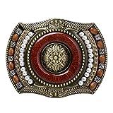 Baoblaze Cintura fibbia Western Cowboy Style Vintage Accessorio Moda Per Uomo - Brown, 10.2x7cm