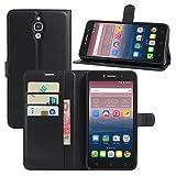 HualuBro Alcatel Pixi 4 (6 Zoll) 3G Hülle, Leder Brieftasche Etui Tasche Schutzhülle HandyHülle [Standfunktion] Lederhülle Flip Case Cover für Alcatel OneTouch Pixi4 6.0 Zoll 3G 8050D (Schwarz)