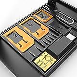 SIM Karten-Speicher-Kasten u. Telefon-Standplatz + USB-Speicher-Karten-Blitz-Leser für MicroSD TF mit Mikro-USB-OTG Leser für Telefon + iPhone Stift Fach-Öffner, hält Mikro-Nano SIM Karten