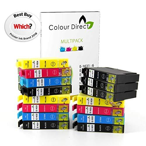 ColourDirect - Cartucce di inchiostro compatibili con le stampanti Epson WorkForce WF-2520NF, WF-2530WF, WF-2010W, WF-2510WF, WF-2540WF, WF-2630WF, WF-2650DWF, WF-2660DWF, 15 XL, 16 XL, 6x nero, 3x ciano, 3x magenta, 3x giallo