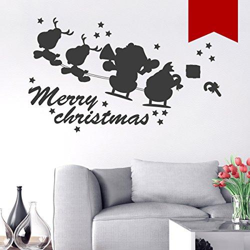 """WANDKINGS Wandtattoo """"Merry Christmas mit Weihnachtsmann, 2 Rentieren und Schlitten"""" 115 x 69 cm - Rot - Wähle aus 5 Größen & 35 Farben"""