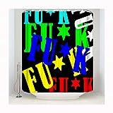 Daesar Polyester-Stoff Duschvorhang Antischimmel Worte Lustiger 3D Duschvorhang 183x214 cm