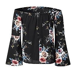 Kobay Womens Floral Printing Off Shoulder T-Shirt Tops, Ladies' Casual Long Sleeve Tank Tops Blouse