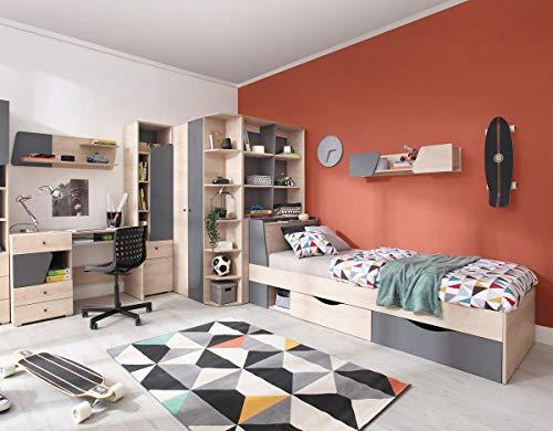 QMM Traum Moebel Jugendzimmer Kinderzimmer komplett Davis Set C Eckschrank Schreibtisch Bett 120x200 Regale - Komplettes Bett Set