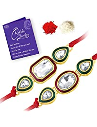 Sukkhi Fabulous Gold Plated Designer Kundan Rakhi Combo (Set of 2) with Roli Chawal and Raksha Bandhan Greeting Card For Men