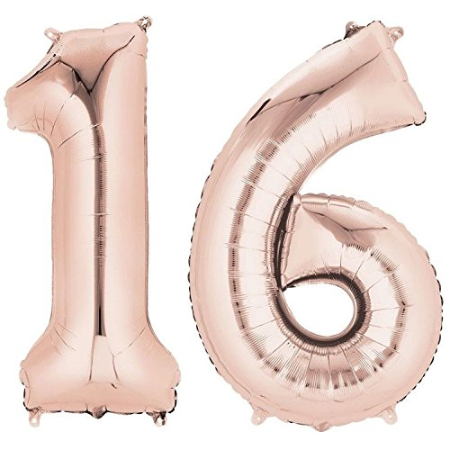 Ouinne Ballon Zahl 16, 40 Zoll Helium Folie Luftballon 16 Geburtstag Folienballon Geburtstag Dekoration Set Riesen Folienballon Fur Party (Rose)