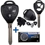 mt-key Auto Funk Schlüssel Fernbedienung 1x Gehäuse 3 Tasten  1x Rohling  1x CR2016 Batterie für Toyota Auris...