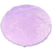Alfombra redonda, CONMING Shaggy piso alfombra Super alfombra suave almohadillas antideslizante piso alfombra antideslizante desgaste yoga esterilla para sala de estar dormitorio y más tamaños (púrpura,80cm)