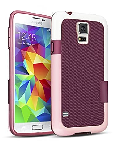 Galaxy S5 Case, 3 Color Hybrid Dual Layer Shockproof Case [Extra Front Raised Lip] Soft TPU & Hard PC Bumper Protective Case Cover for Samsung Galaxy S5 I9600 GS5 G900V