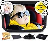 XXL Spiegelset - Rücksitzspiegel für Babys - Autospiegel Baby - Sicherheitsspiegel für Auto Rücksitz - für Kinder in Kindersitz, Babyschale, Babysitz, Rückwärtssitz, Rückspiegel Baby Set