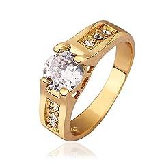 Idea Regalo - NYKKOLA bell'anello placcato in oro giallo da 18 k con diamanti zirconia cubica