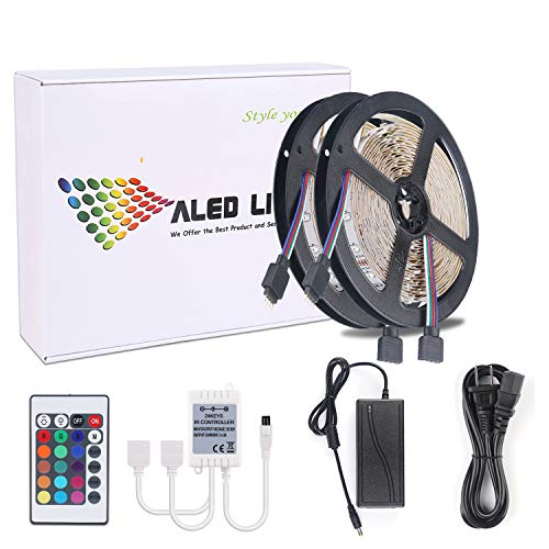 LED RGB Luces de Tira de 10m(2x5 Metros), ALED LIGHT 3528 SMD...