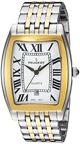Peugeot Men's 1041TT – Wristwatch, Silver Colour Metal Strap