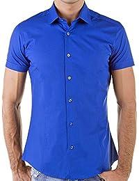 KAYHAN chemise pour homme coupe slim 10 coloris au choix pour femme s-xL -  Blanc - Small