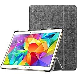 Fintie Hülle für Samsung Galaxy Tab S 10.5 T800 T805 (10,5 Zoll) Tablet-PC - Ultra Schlank superleicht Ständer SlimShell Schutzhülle Etui Tasche mit Auto Schlaf/Wach Funktion, Stoff dunkelgrau