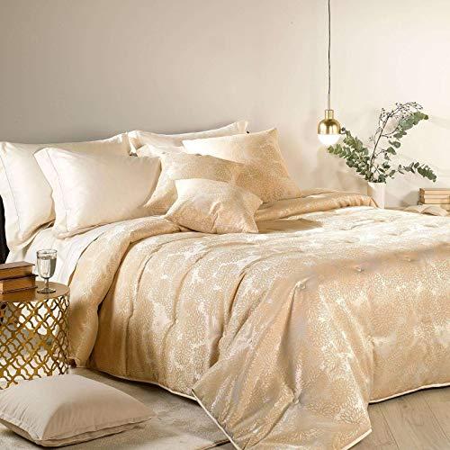 Caleffi trapunta lumiere in prezioso raso jacquard letto matrimoniale medio tepore 200 gr/m² (oro)
