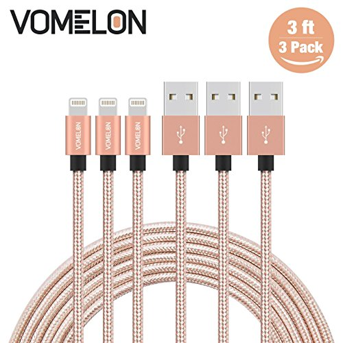 Lightning Kabel, 3Pack 3ft Nylon geflochtenen Blitz auf USB Syncing und Ladekabel Datenkabel kompatibel mit iPhone 7/7 Plus / 6S / 6 Plus, SE / 5S / 5, iPad, iPod Nano 7 (5 Fällen Ipod Free)
