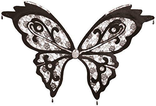 Damen schwarze Spitze Paillette Schmetterling Wings Vintage Karneval Halloween Kostüm Kleid Outfit Zubehör (Halloween Schmetterling Wings)