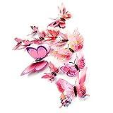 FORH 12 PCS 3D Schmetterlinge Wanddeko Aufkleber Abziehbilder Wand Aufkleber Hauptdekorationen Wandtattoo Schmetterlings Regenbogen Wand-dekor Kinder Baby Schlafzimmer Deko (Rosa B)