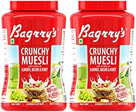 Bagrry's Muesli Crunchy Oat Clusters with Almonds, Raisins and Honey, Jar - Pack of 2