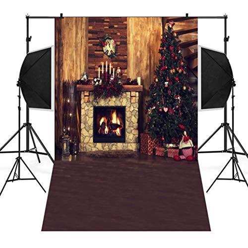 Wawer 3D Fotografie Hintergrund, Weihnachten Backdrops Baum Vinyl 3x5FT Kamin Hintergrund Fotografie Studio (C)