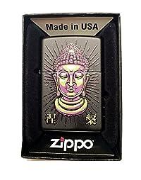 Zippo Custom Lighter - Tattoo Buddha Statue Face - Regular Black Matte
