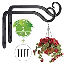 NETUME 2 Pack Black Wall Hanging Hooks - Hanging Brackets, Metal Wrought Iron Wall Hanging Basket Brackets, Hanging Basket Stand for Bird Feeders/Plants/Lanterns/Wind Chimes(with Screws)