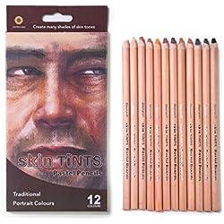 MEEDEN Lápices de Colores Pastel Suaves Profesionales para Dibujar lapices de Colores de papelería, 12 Colores Paquete de 1 Unidad