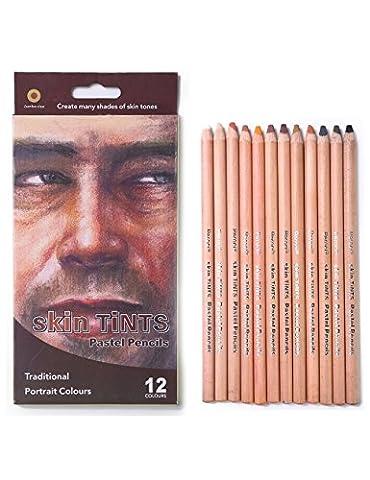 Meeden 12Couleur Professional Skin teintes pastels Crayons de couleur pour le dessin d