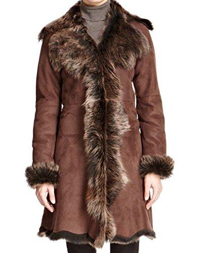 Donna Nappa nera con tono oro di montone di pecora pelliccia 3/4 lunga cascata inverno (Tono Oro Nappa)