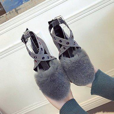 Wuyulunbi @ Hiver Confort En Caoutchouc Chaussures Pour Femmes Flats Round Toe Buckle Pour La Lumière Extérieure Noir Gris Us5.5 / Eu36 / Uk3.5 / Cn35