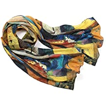 Prettystern - longue écharpe foulard en soie de l art de la peinture,  Kandinsky 9a0d53730d2