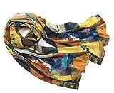 Prettystern langer Damen Seiden-Schal 160cm Abstrakte Kunst-Drucke Art Malerei Wassily Kandinsky Kreise Streifen P967