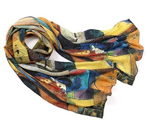 prettystern langer Damen Seiden-Schal 160cm Abstrakte Kunst-Drucke Art Malerei Wassily Kandinsky Kreise Streifen P967 -