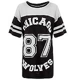 Verrückte Mädchen-Frauen Amerikanischer Baseball Chicago 87 Wölfe sackiges T-Shirt Spitze 36-42 (S/M-EU36/38, Schwarz)