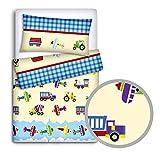 babymam Baby Bettwäsche Set Kissenbezüge/Bettbezug an Babybett, Lkws, 2-teilig