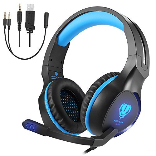 Xbox One Headset Bluetooth (Gaming Headset für PC, PS4, GOXMGO 3.5mm Kabelgebundenes Headset für Xbox One, Kopfhörer mit Mikrofon, Noise Isolation Kopfhörer für Nintendo, Laptop, Smartphone (Schwarz Blau))